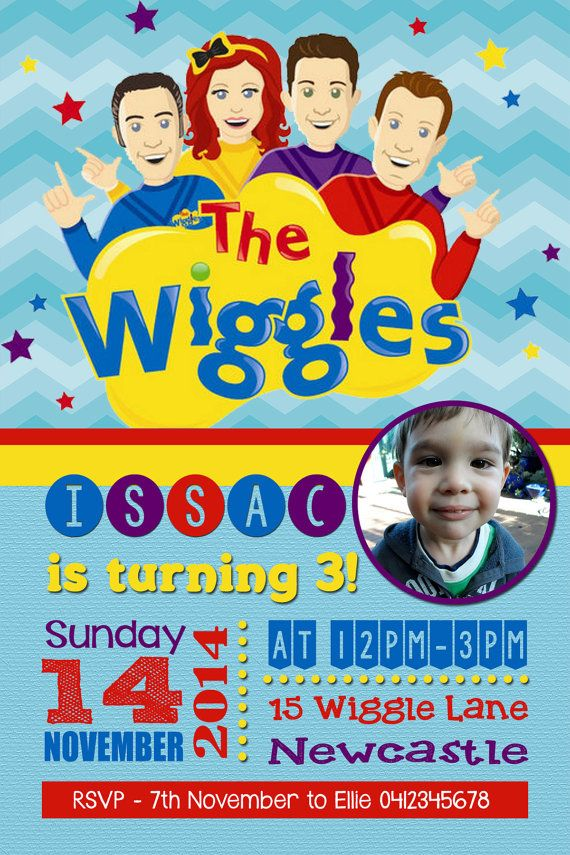 The Wiggles Birthday Invitation Boys By Jadeadigitalinvites 3rd