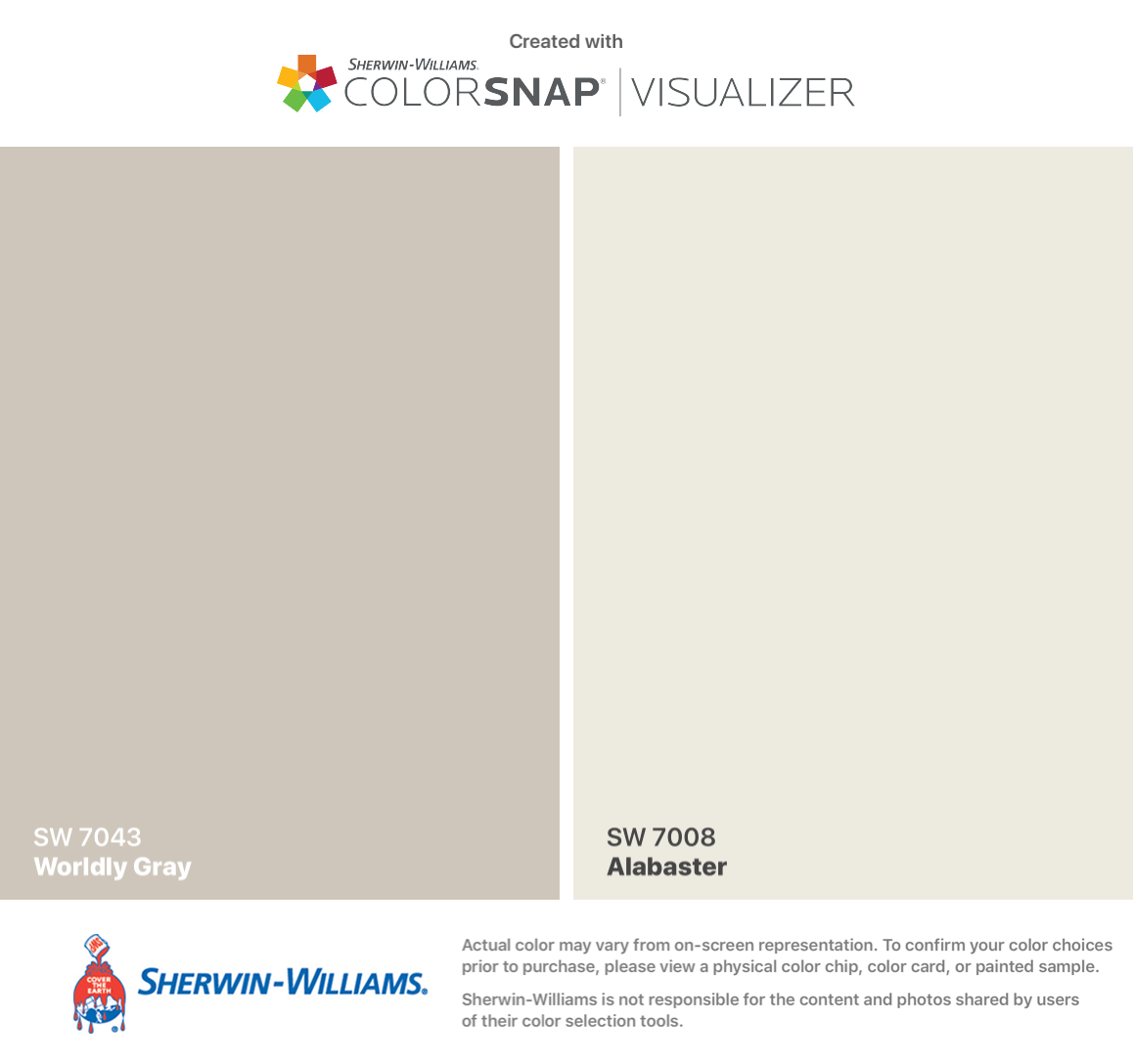 Sherwin-Williams: Worldly Gray (SW 7043)-Walls, Alabaster (SW 7008 ...