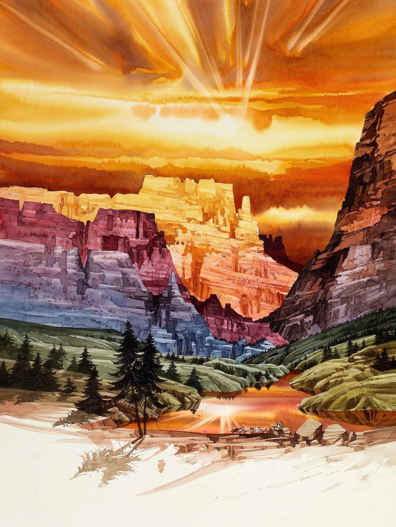 Michael atkinson castle canyon watercolor on board no