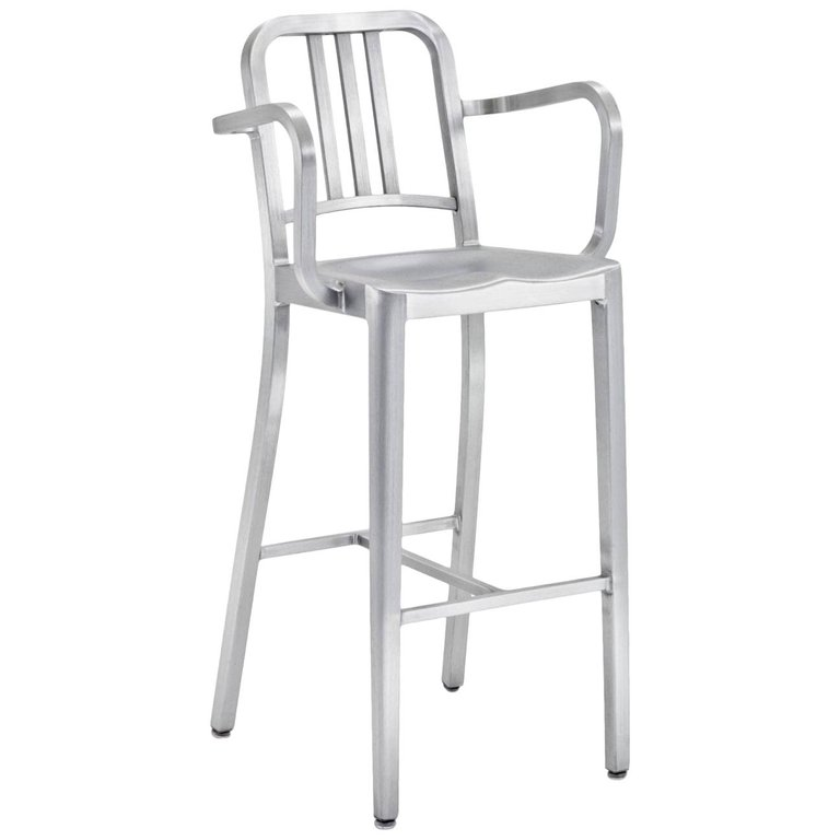 Sensational Emeco Navy Barstool With Arms In Brushed Aluminum By Us Navy Caraccident5 Cool Chair Designs And Ideas Caraccident5Info