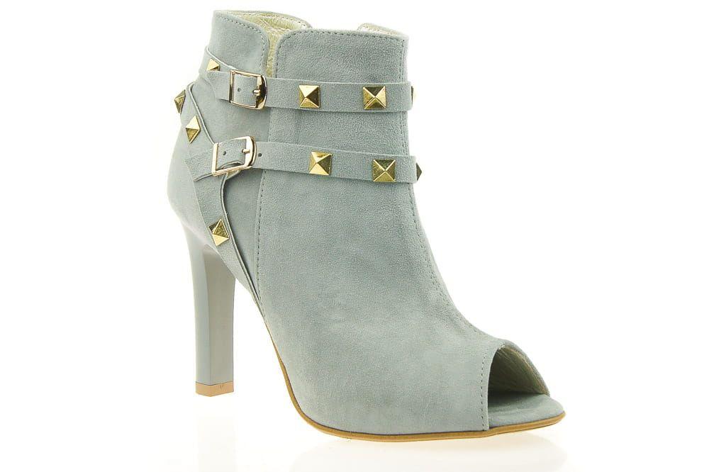 Szare Skorzane Botki J Wolski Z Odkrytymi Palcami Shoes Ankle Boot Boots
