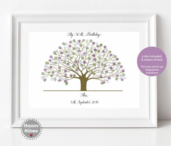 Fingerprint Tree, BIRTHDAY gift wall art home decor personalised print with Owls inc 3 inks - Ref; Oak Owls, HH (A3 poster)