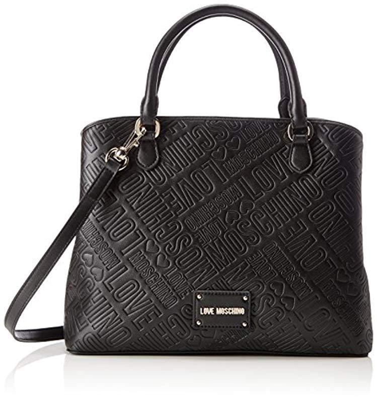 Love Moschino Borsa Embossed Pu Nero Bag Black 12x26x33 Cm B X H T Bags Moschino Shoulder Bag
