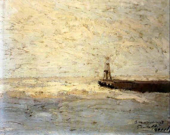 met vriendelijke groet vertalen Willem Paerels (1878 1962). Haveningang Scheveningen. Rechts onder