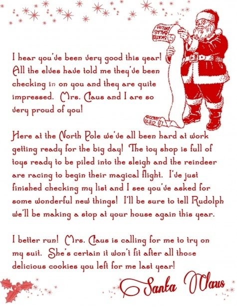 A Printable Letter From Santa I Got One Of These Every Year  It