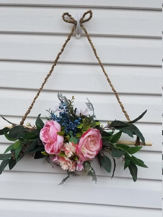Photo of Mini Wreath for Front Door, Triangle Wreath, Rustic Wall Decor