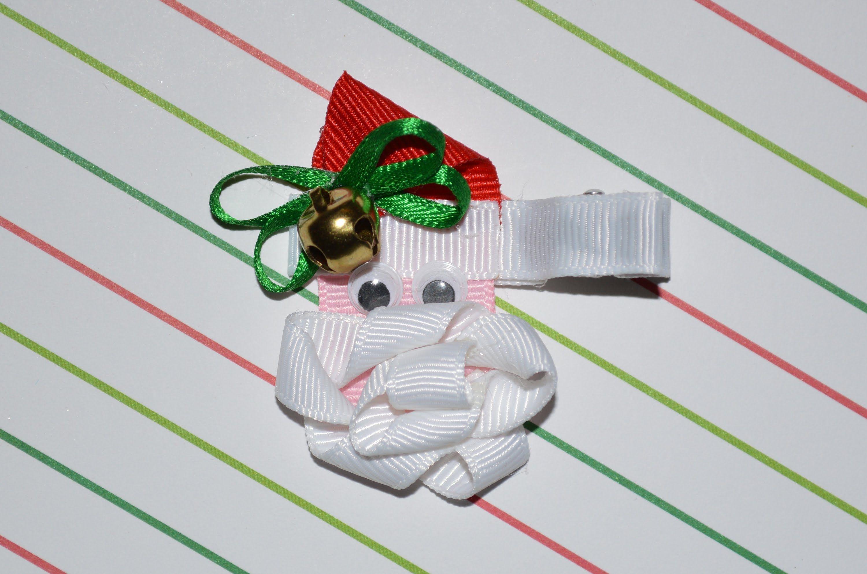 SANTA CLAUS Ribbon Sculpture Christmas Holiday Hair Clip Bow DIY Free Tu... #holidayhair