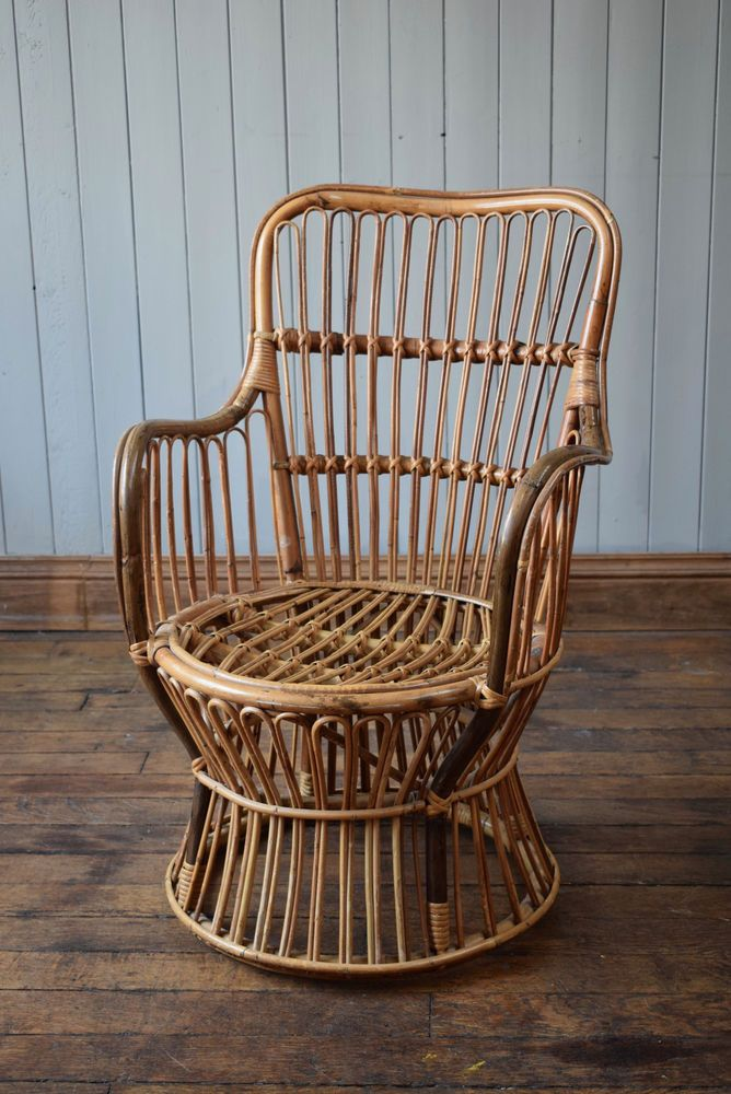 Vintage Satellite High Back Tub Bamboo Cane Wicker Rattan Chair Mid Century