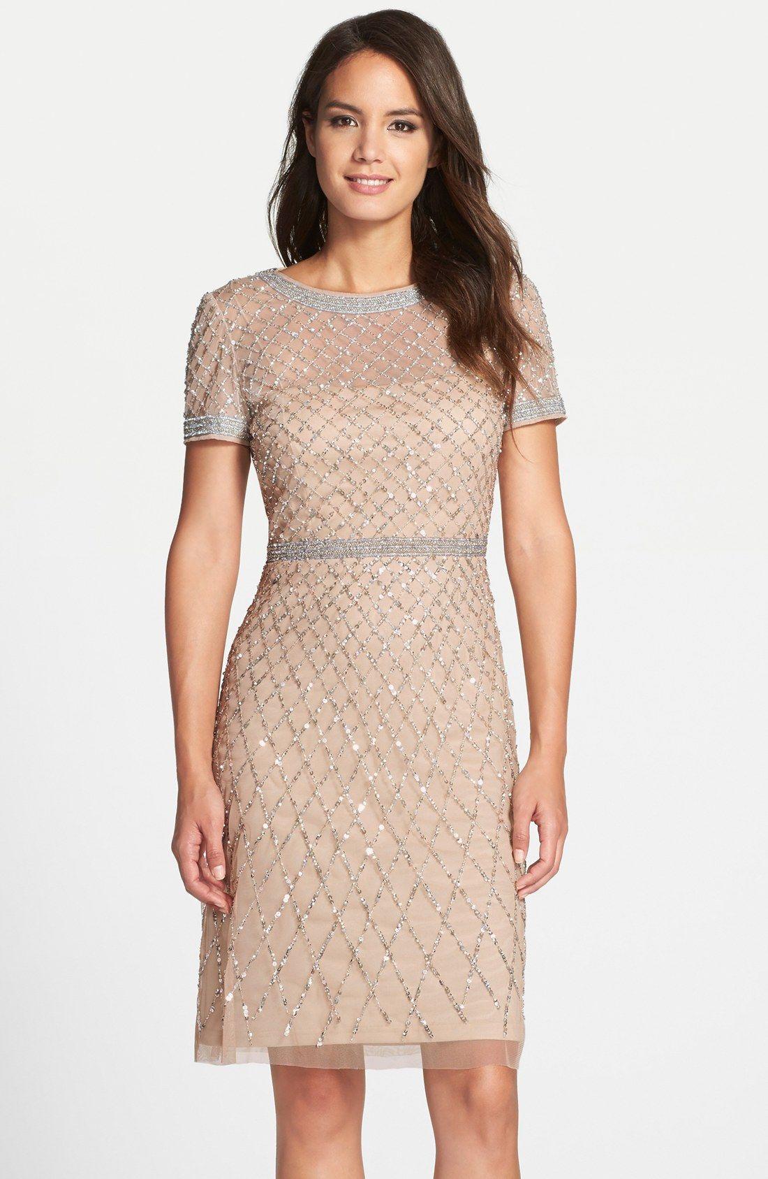 Adrianna Papell Beaded Woven Sheath Dress Regular Petite Nordstrom Beaded Dress Short Petite Cocktail Dresses Dresses [ 1687 x 1100 Pixel ]
