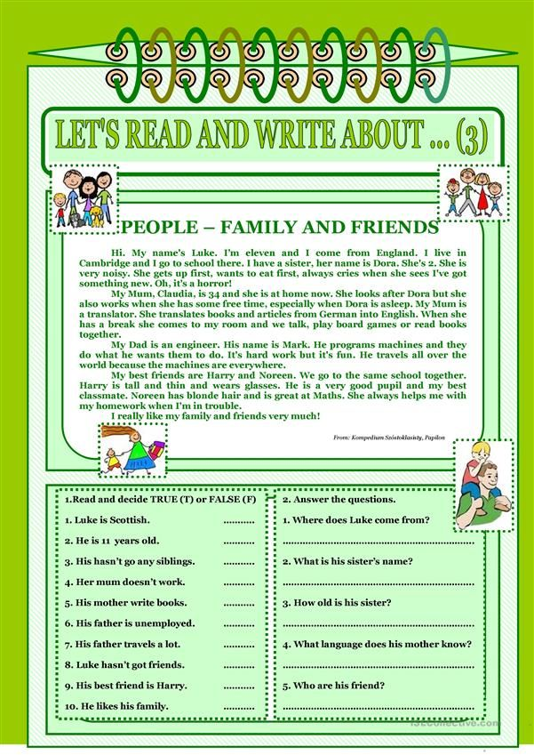 Let´s read and write about ... (3) - Family and friends.   READING ...