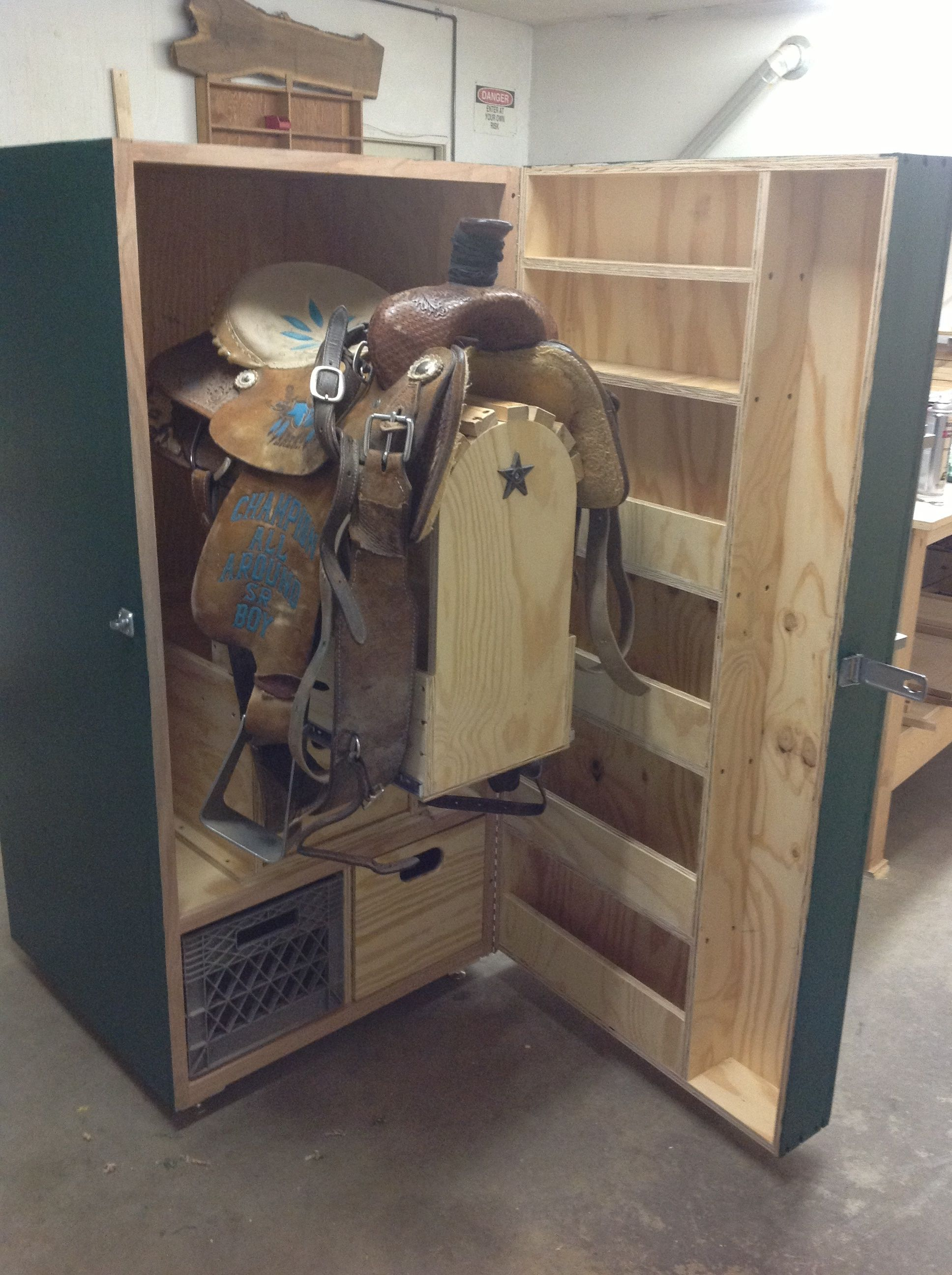 Tack locker great idea for cleaning a saddle horse for Tack cabinet plans