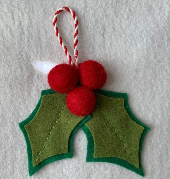 Felt Holly Christmas Ornament for Tree or home decor or present decoration