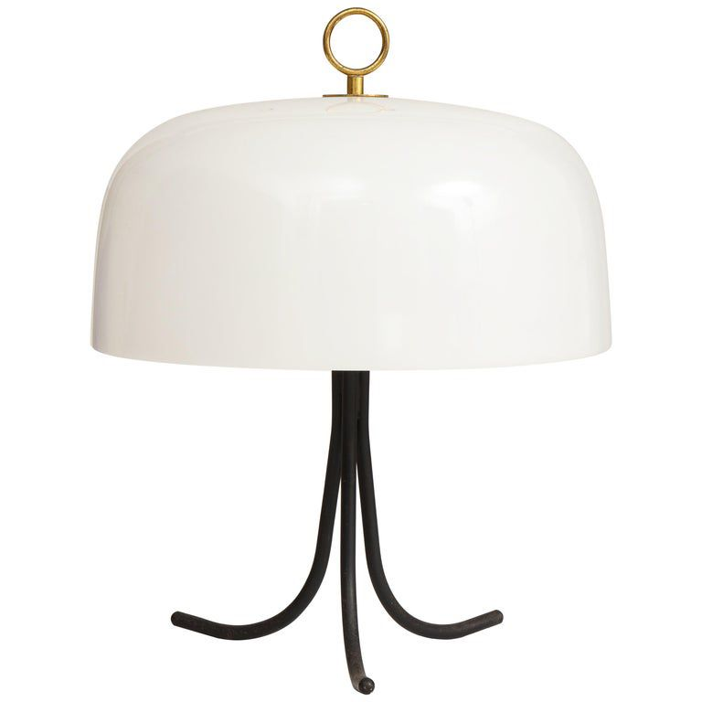 Swooping Tripodal Metal Base Lamp With Acrylic Shade And Brass