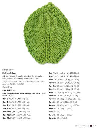 Knit leaf coaster pattern from the book The Complete Photo Guide to Knitting ...