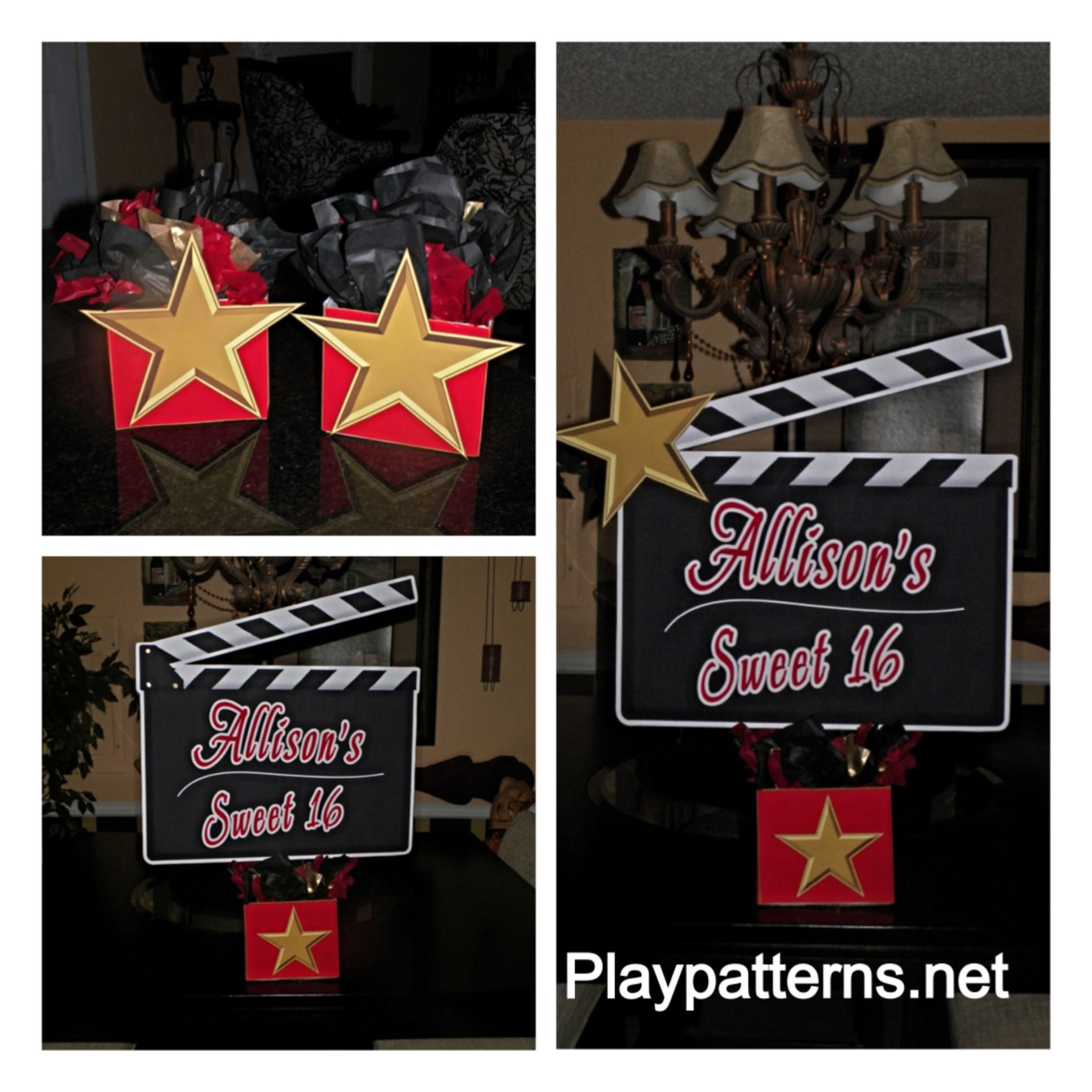 Hollywood Oscar Birthday Party Sweet Sixteen Centerpiece