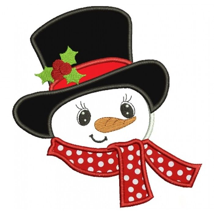 Snowman With Big Hat Christmas Applique Machine Embroidery Digitized ...