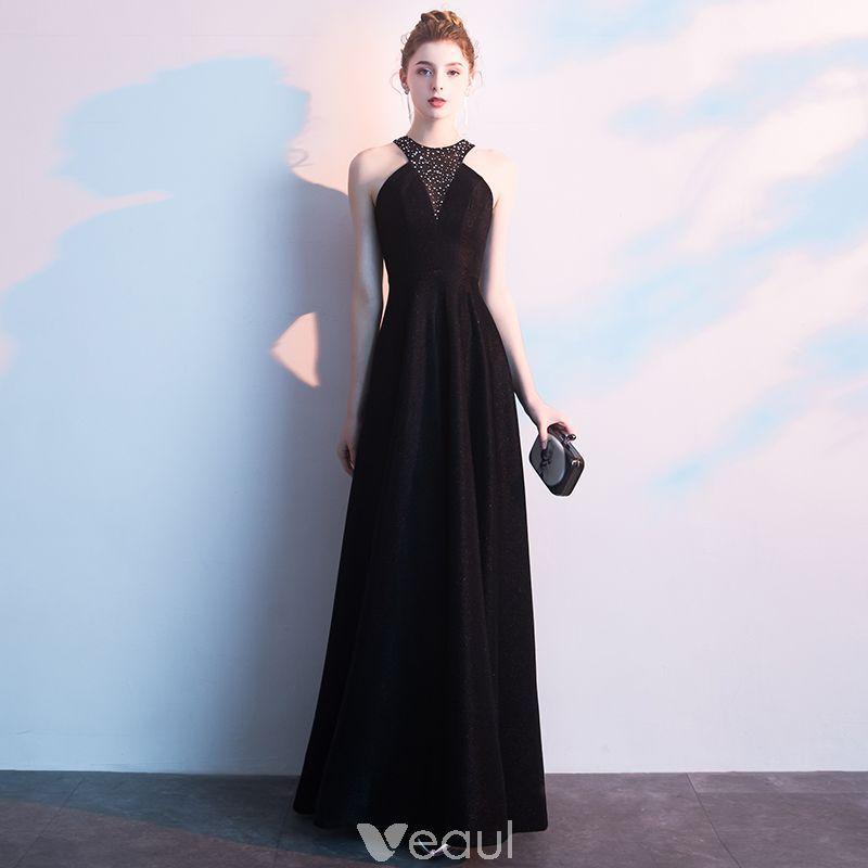 7f37e89693 Seksowne Czarne Sukienki Wieczorowe 2019 Princessa Bez Rękawów Rhinestone  Posiadacz Bez Pleców Długie Sukienki Wizytowe