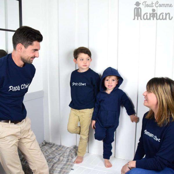 Favorit Sweat FAMILLE CHAT gris chiné ou bleu marine | Fils papa, Parents  VI58