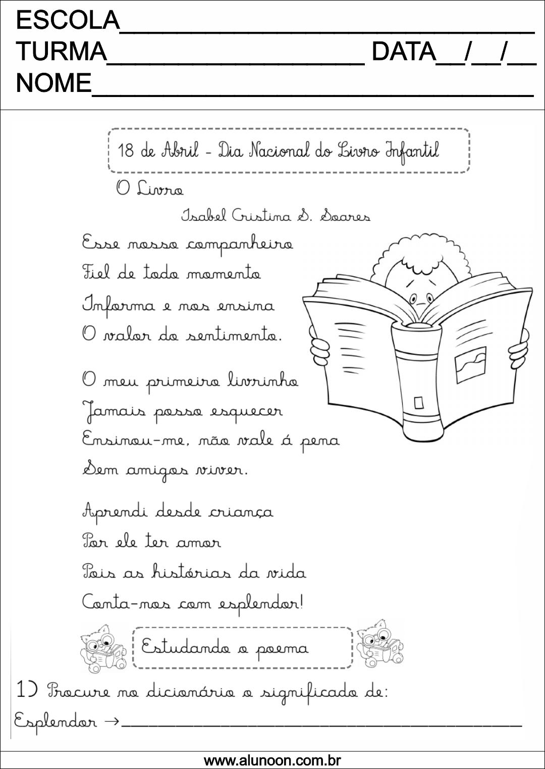 Top Atividade de Poema - dia nacional do livro infantil - Educação  GR73