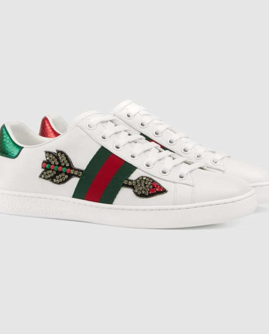 Gucci Arrow-Embroidered Leather Low-Top