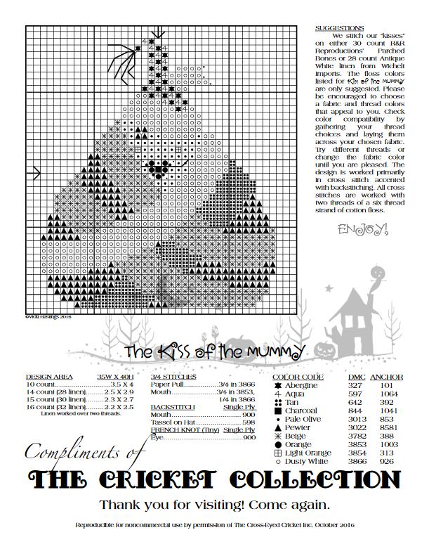 The Kiss Of The Mummy The Cricket Collection Xs4 Halloween Cross Stitch Patterns Fall Cross Stitch Xmas Cross Stitch