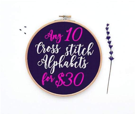 any 10 cross stitch alphabet for 30 dollar free graph paper etsy finds pinterest cross stitch alphabet graph paper and cross stitch