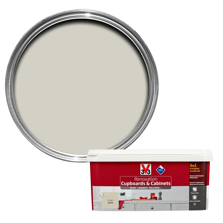 V33 Renovation Linen Smooth Satin Kitchen Cupboard & Cabinet Paint ...