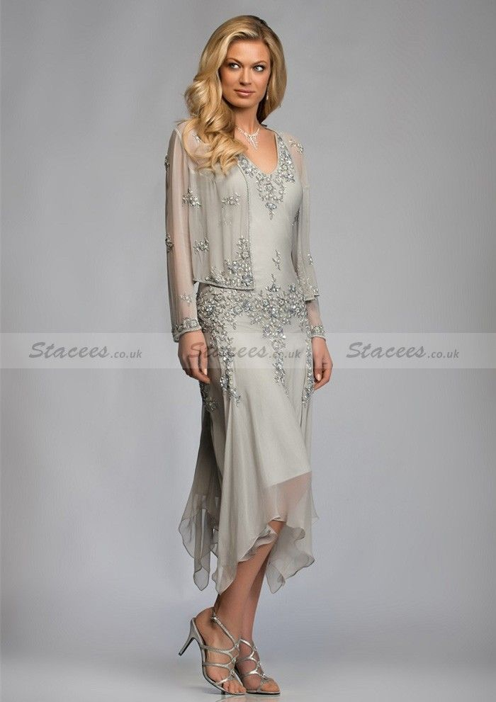 872d5e62d1 A-Line Sleeveless V-Neck Beaded Asymmetrical Mother Of The Bride Dresses