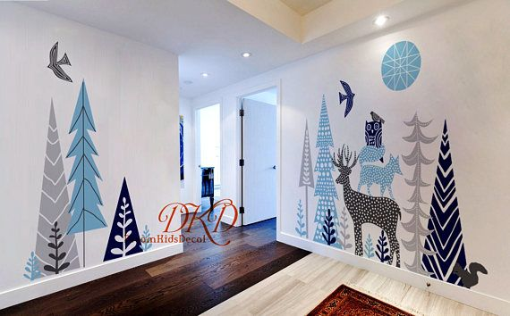 Woodland Forest Nursery Wall Decal Kids Room Decal Vinyl Wall