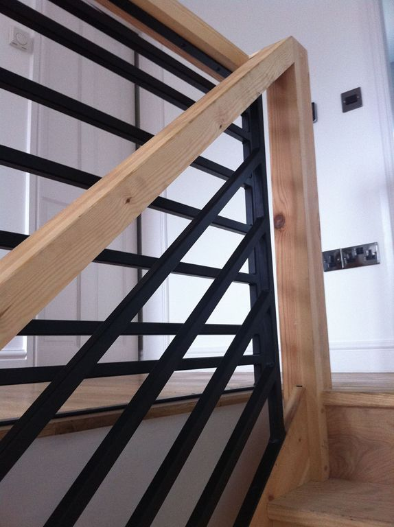 Outstanding Wooden Staircase Design With Black Metal Fence And Wooden Handrail D…