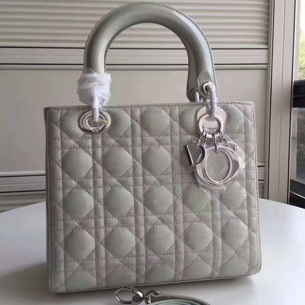 Dior Lady Dior Medium Bag In Patent Leather Gray (SH)   Dior Lady ... f003ce82c5