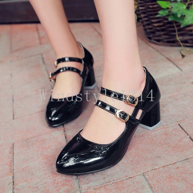 f586e5a98e6 Womens Patent Pu Leather Mid Block Heel Round Toe Ankle Strap Lolita Shoes  Size