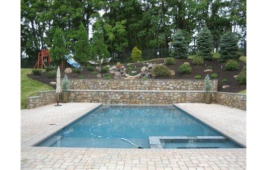 Beautiful Backyard Inground Pool Design With Decorative Stone U0026 Landscape Home And  Garden Design Ideas Photo Gallery