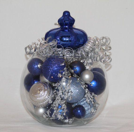 Christmas Centerpiece Sapphire Silver And Light Blue Holiday Decoration Hanukkah Home Decor Blue Christmas Decorations Realtor Gift Hanukkah Chris