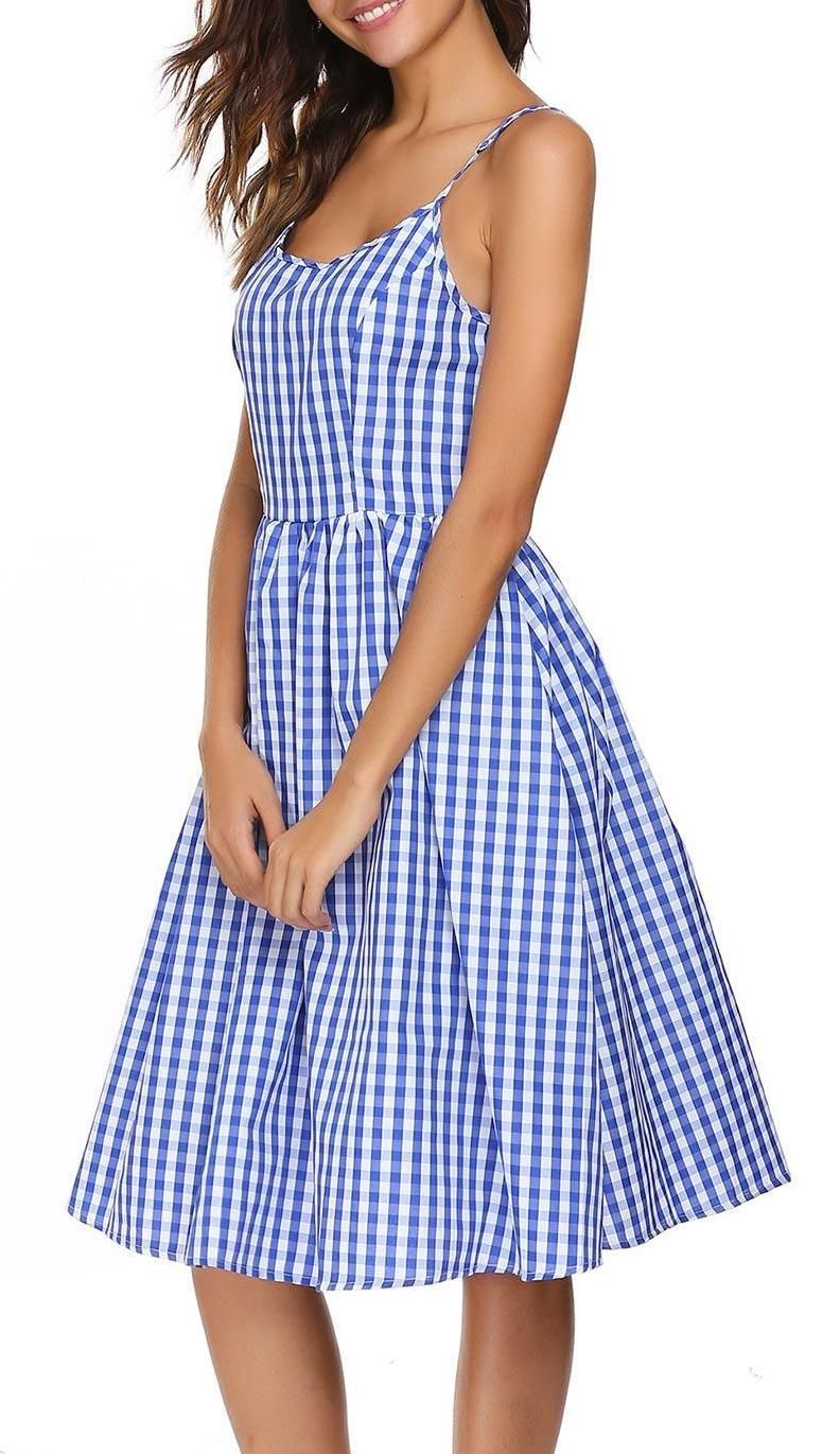 Blue Vintage Spaghetti Straps Plaid Dress in 2019   Clothing ... e18556e1fe9