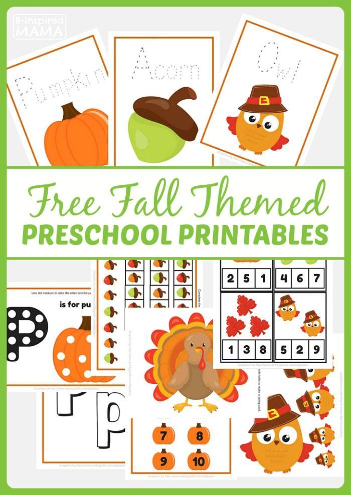 Printable Fall Classroom Decorations ~ Free fall themed preschool printables at b inspired mama