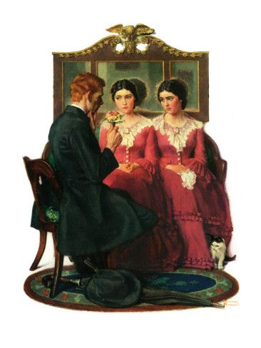 """""""Man Courting Two Sisters"""", May 4,1929 Giclee Print by Norman Rockwell at AllPosters.com"""
