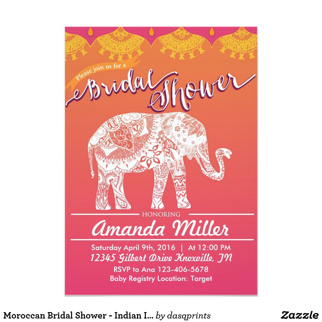 Moroccan Bridal Shower - Indian Inspiration Invitation | Pinterest ...