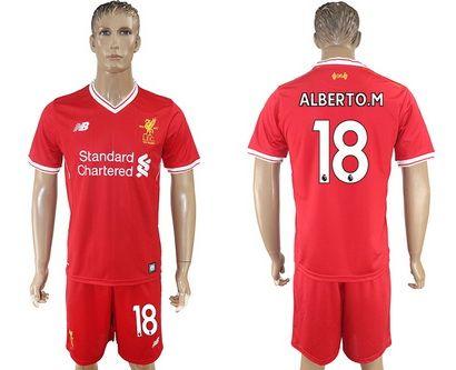 2017-2018 Liverpool #18 Alberto.m Red Away Soccer Club Jersey