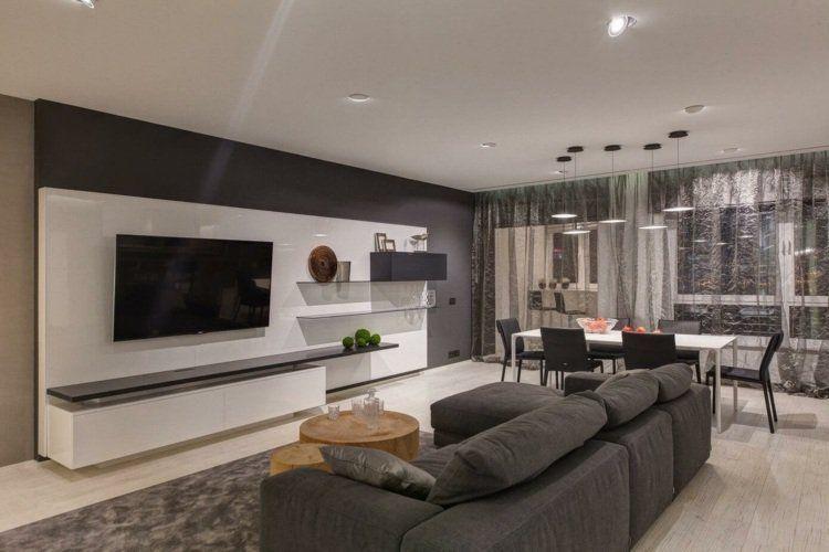 Salon Gris Et Blanc Mobilier Blanc Laqué Faux Plafond Design Et