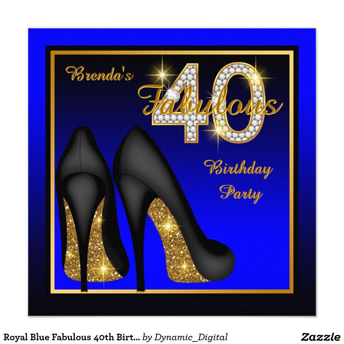 Royal Blue Fabulous 40th Birthday Party Invitation