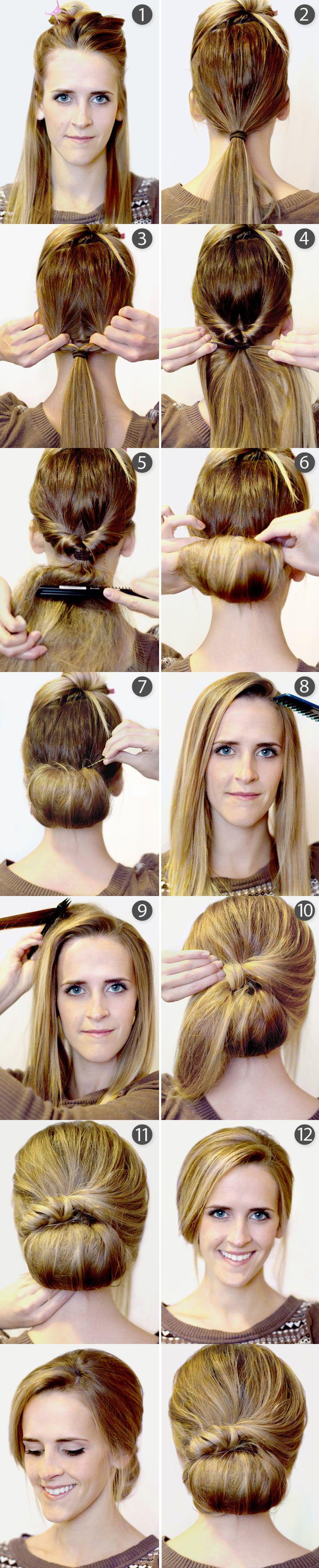 TUTO COIFFURE faire un chignon rétro Hair styles, Hair
