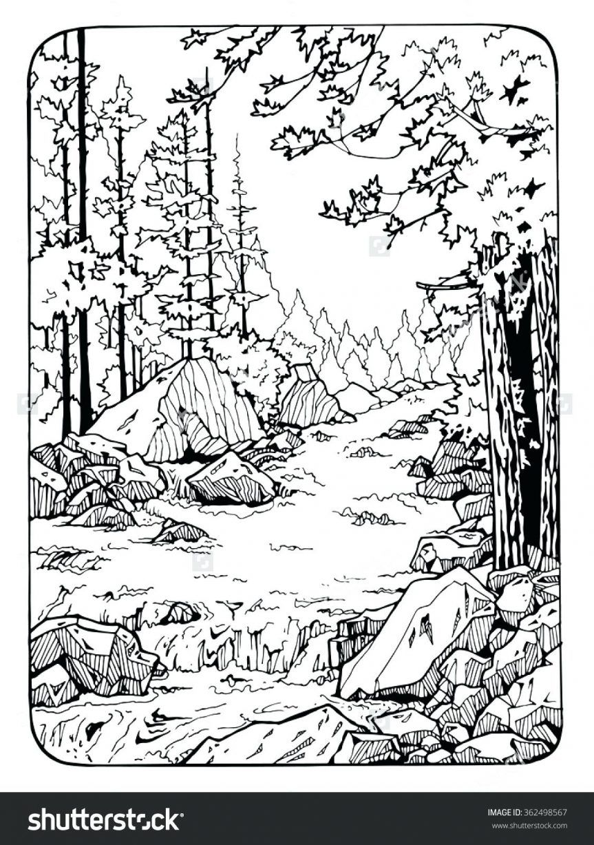 coloring pages river scene coloring page nature pages tree with waterfall for adults printable. Black Bedroom Furniture Sets. Home Design Ideas