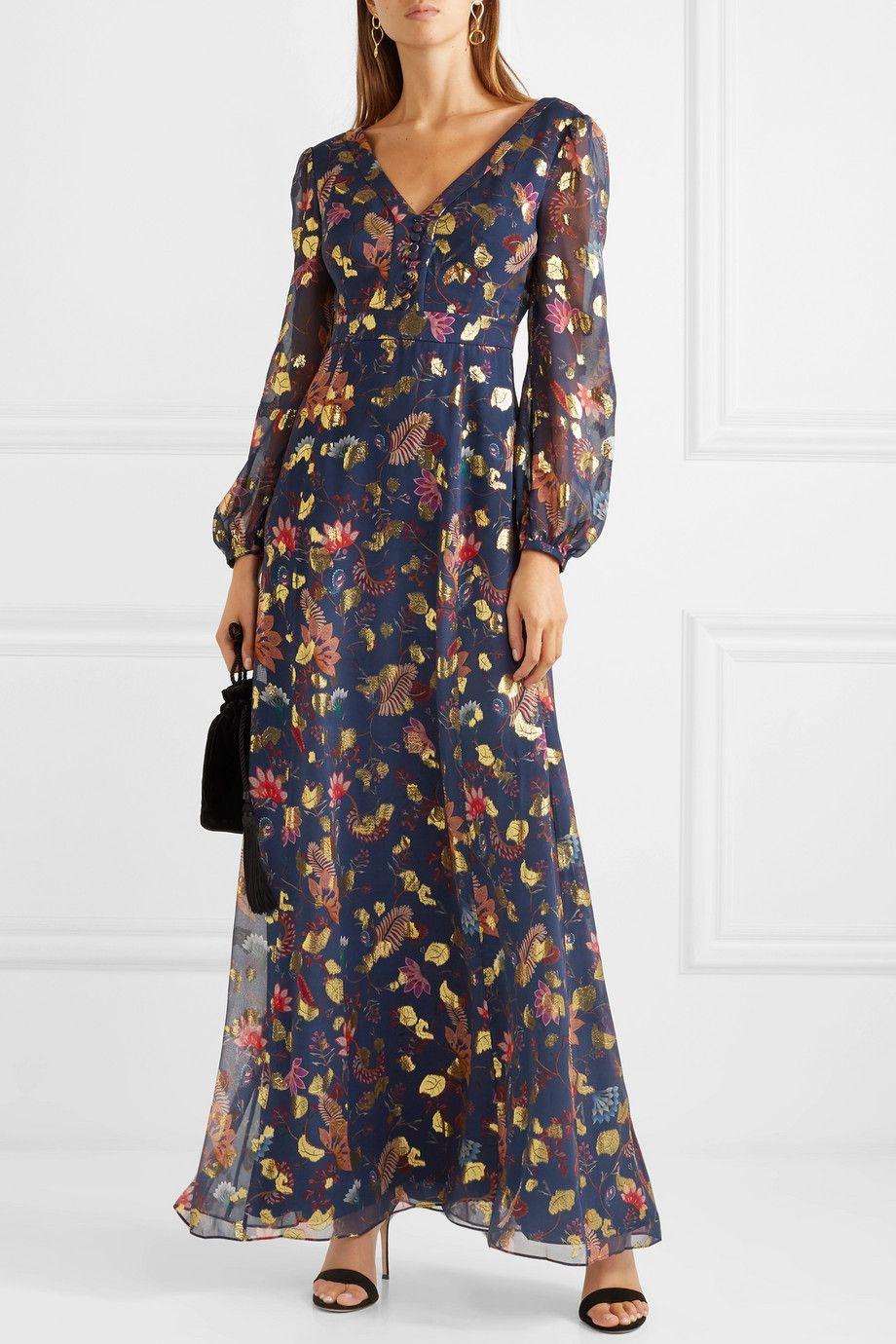 Midnight Blue Annabel Fil Coupe Silk Blend Maxi Dress Rachel Zoe Plate Iz Shifona Milye Platya Naryady [ 1380 x 920 Pixel ]