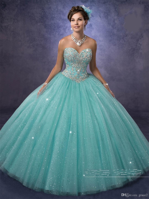 vestidos de 15 anos mit kostenlosem Bolero und herzförmigem Ausschnitt Aqua Quinceanera Dresses 2017 Prinzessin in funkelndem Tüll nach Maß #fiestade15años