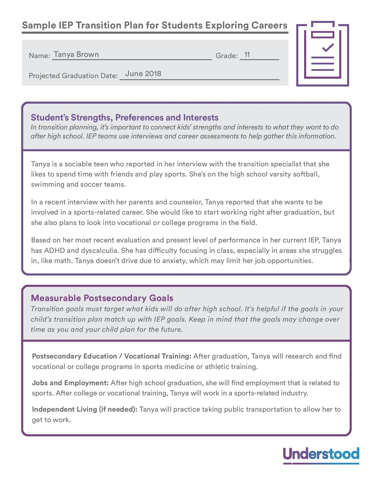 Sample Iep Transition Plan For Students Exploring Careers