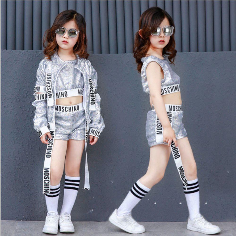 Street Dance Wear Costume Adult Women Performance Sequins Modern Hip Hop Clothes