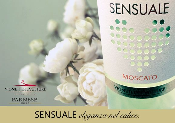 NEW WINE AVAILABLE: SENSUALE MOSCATO. Flowers, pear, peach, mango, the exotic touch of the Muscat grape. Harmonious, sweet, full, fresh, intense and persistent. Slightly effervescent. To drink on its own, with poached fish or an elegant dessert. #Farnesevini, #vino, #wine, #vin, #vinoitaliano, #italianwine, #vinitalien, #Farnese, #moscato,  #vinilucani, #winelover, #vignetidelvulture