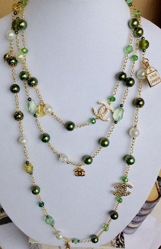 Designer Inspired Chanel Long Pearl And Lots Of Charms Necklace