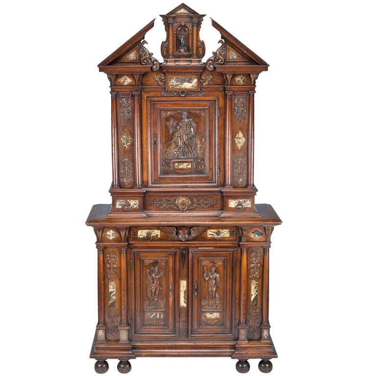 16th Century French Renaissance Walnut And Marble Inlay Cabinet Renaissance Furniture Antiques Baroque Furniture